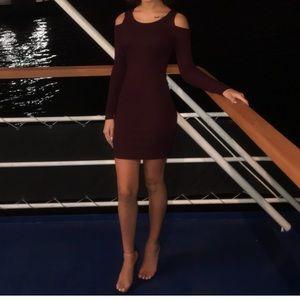Burgundy shoulder cutout dress